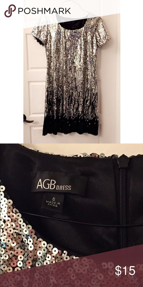 Silver and Black Sequin Party Dress Perfect for NYE, Vegas, Mardi Gras, or birthdays!! AGB Dresses