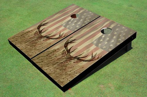 Hunters will enjoy the design of this Custom American Flag With Deer Cornhole Board Set. This custom cornhole board set is ACA Regulation Sized (48 inches long by 24 inches wide with a 6 inch diameter