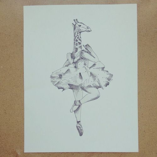 "De la serie "" Original Vs Copia "" Ella bailarina "" "" #Dancing #giraffe #drawing #art #illustration #Himallineishon #ballerina"