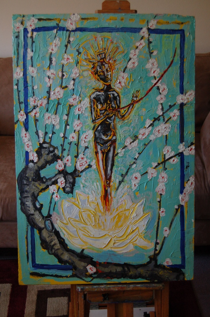 """""""Green Tara"""" by James Mathers. 2.5 ft x 3ft.     This painting is $150, if you wish to buy or bid on this painting, please email susansitcom@yahoo.com. Paypal accepted. thanks!!"""