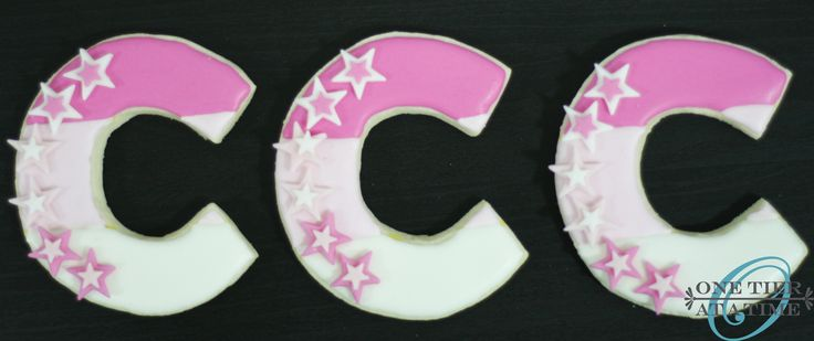 "American girl themed ""C"" sugar cookies with fondant star accents"