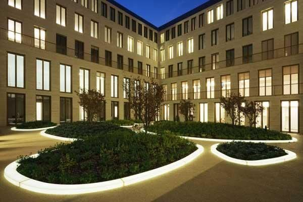 Inner courtyard of L-Bank, Karlsruhe, Germany by Agence TerLandscape Architects, Photo, DuPont™ Corian®