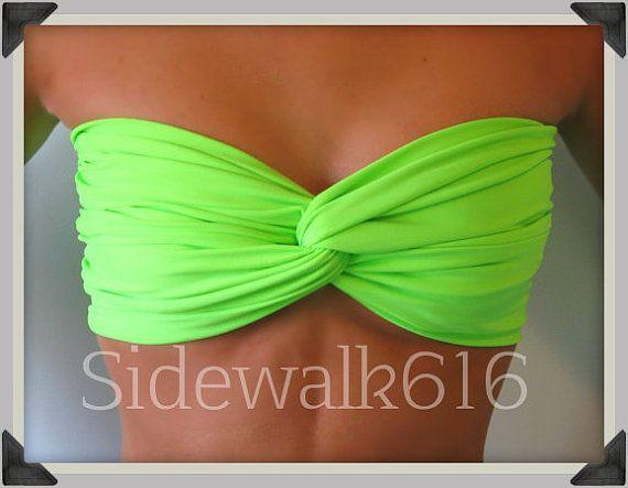 Lime Green Bandeau Top Spandex Bandeau Bikini by Sidewalk616