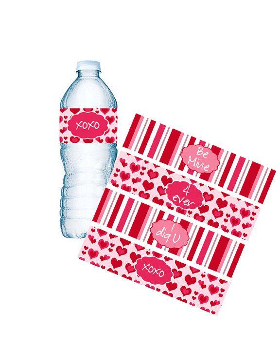 Valentine Water Bottle Labels Valentine Napkin Rings School Parties Valentine Goodie Bags Custom Bottle Labels INSTANT DOWNLOAD (295) (6.00 USD) by MoonLitPrintables