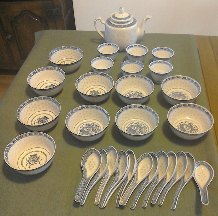 Chinese Blue U0026 White Rice Pattern Teapot, Cups, Bowls U0026 Spoons Set In  Pottery