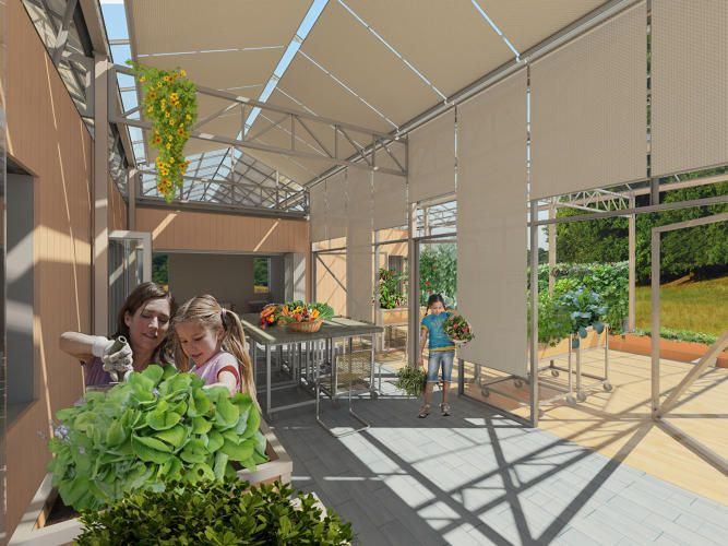 This season-shifting solar house is surrounded by a greenhouse: http://www.fastcoexist.com/3044394/this-season-shifting-solar-house-is-surrounded-by-a-greenhouse