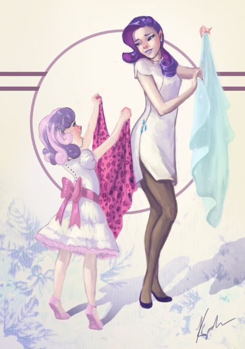 Rarity and sweetie belle human