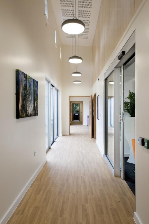 High circulation areas with acoustic ceilings oakwood for Oakwood homes design center