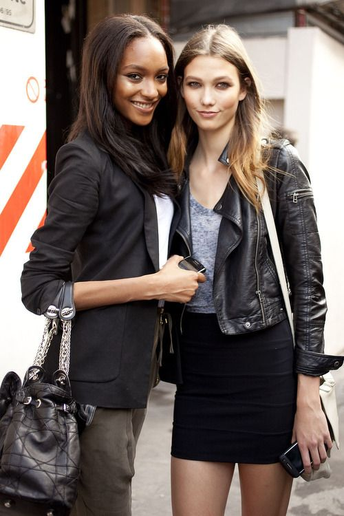 Casual - Leather Jacket - Black Skirt