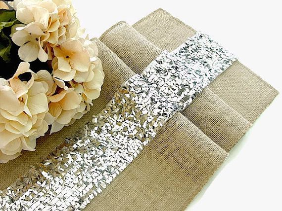 Luxury Sequin Silver Table Runner  Wedding Table by HotCocoaDesign