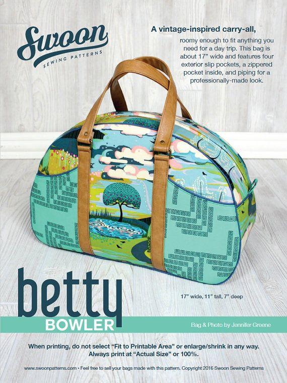 Swoon Patterns: Betty Bowler - PDF Bowling Bag Purse Travel Bag Weekender Sewing Pattern