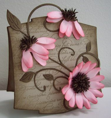 Beautiful: Diy Ideas, Cards Flowers, Pink Flowers, Flowers Cards, Cards Ideas, Carts Pet Girls, Handmade Cards, Greeting Card, Paper Crafts