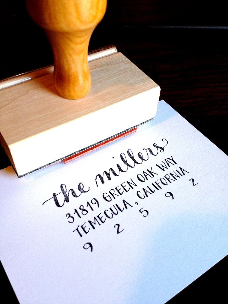 CALLIGRAPHY ADDRESS STAMP - Return Address FullJustified - Script & Block Caps - Custom, Wedding Envelopes - Wooden Handle. $47.00, via Etsy.