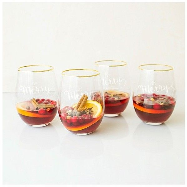 Cathy's Concepts Be Merry Set Of 4 Stemless Wine Glasses ($63) ❤ liked on Polyvore featuring home, kitchen & dining, drinkware, gold, gold wine glass, holiday wine glasses, hand blown wine glass, gold rim wine glass and hand blown wine glasses