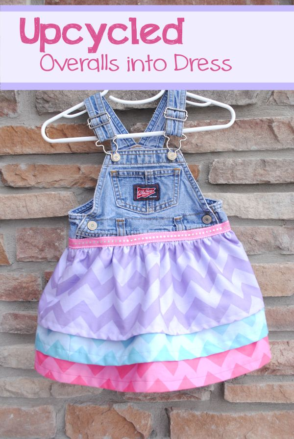 Upcycled Overalls Dress Tutorial  Perfect for all my chevron scraps!