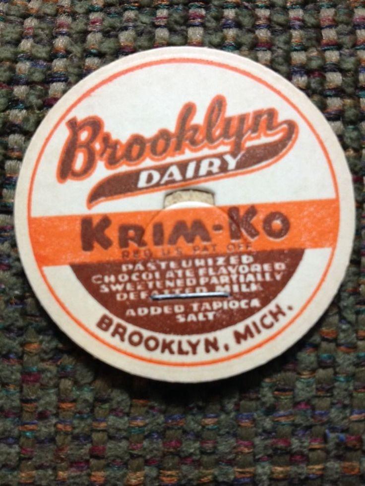 Brooklyn MI Michigan KRIM-KO DAIRY Chocolate Milk Bottle Cap