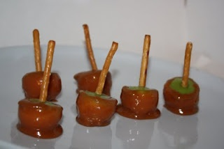 Use a melon baller to make bite sized caramel apples. :)