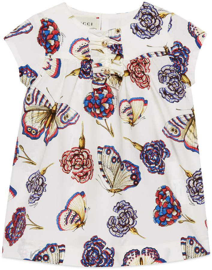 5b506cda3c6 Baby butterflies and flowers print dress | Girl babys dress | Gucci ...