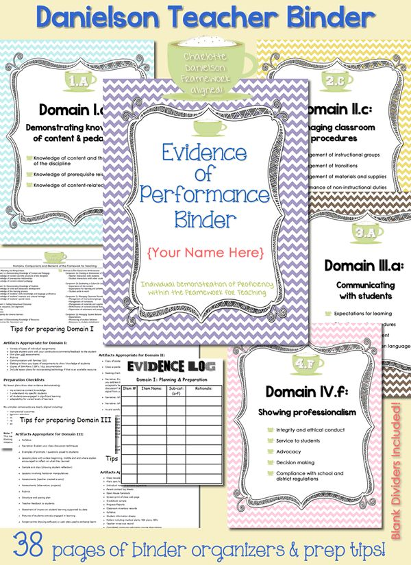 Charlotte Danielson Framework aligned. This evidence binder includes an editable cover, dividers for each of the four domains, dividers for each of the sub-categories, domain overview, evidence logs and tip sheets outlining suggested artifacts for each of the four domains. Coordinates with the Danielson Domains, Components, and Elements of the Framework for Teaching. $ #education #teacher #organization