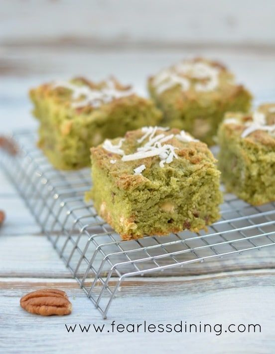 Gluten Free Matcha Coconut Cookie Bars http://fearlessdining.com