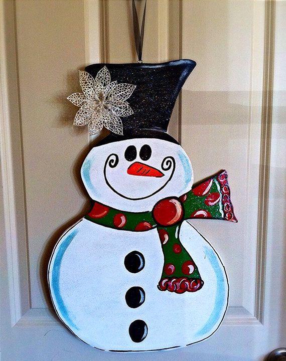 Wooden snowman door hanger by thebutterbean on etsy