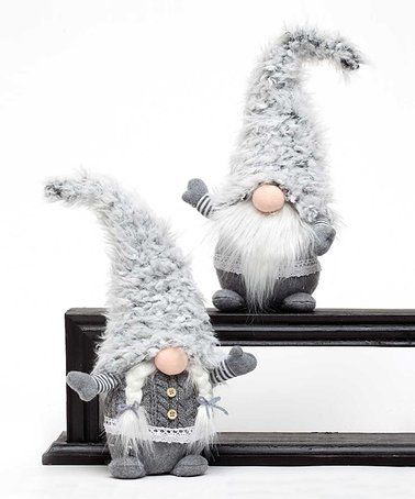 Look what I found on #zulily! 16'' Gray Woolly Hat Gnome Figurine - Set of Two #zulilyfinds