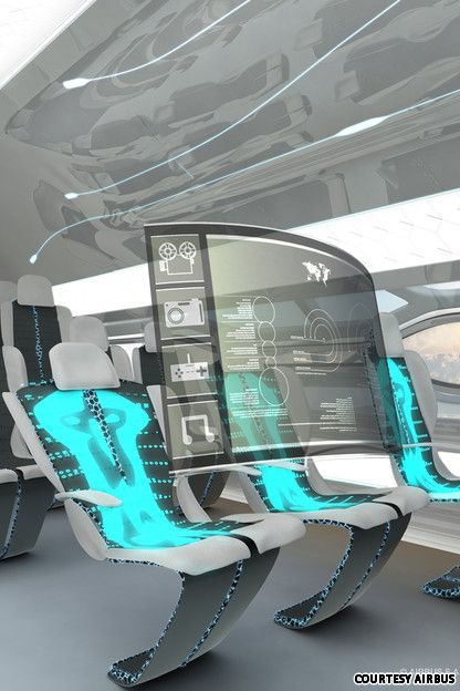 Futuristic design: Airbus plane of future - the future of plane travel: seats that morph to your bodyshape and holographic touch screens on board!