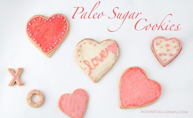 Paleo Sugar Cookies from Against All Grain.  Ingredients: almond flour, honey, egg, coconut oil, vanilla, baking soda, sea salt, coconut flour. Frosting made with: coconut butter, cacao butter, honey, natural coloring [like dried strawberries or cold coconut milkfood coloring].