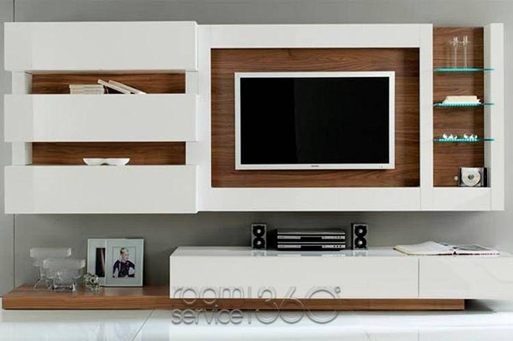 Gallery 31 wall unit in white lacquer and american walnut Interior design tv wall units