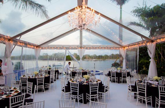 Clear Beach Wedding Tent With Chandeliers Lighting All That