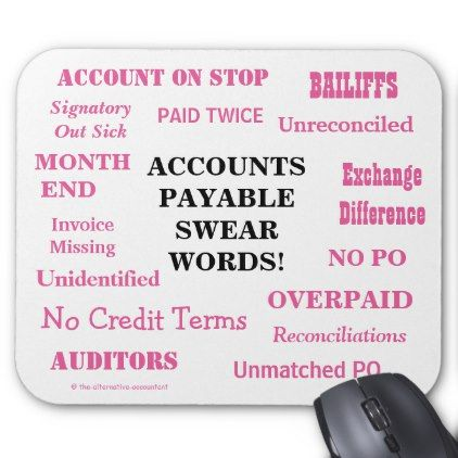Ladies Accounts Payable Swear Words! Funny AP Mouse Pad - humor funny fun humour humorous gift idea