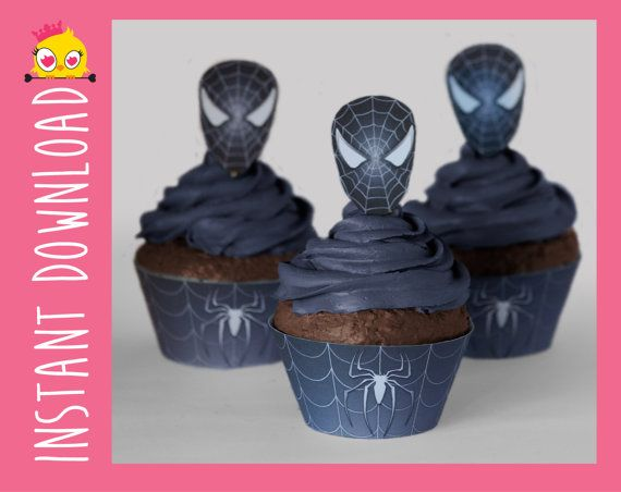Black SpiderMan Inspired Cupcake Wrappers & by CharmingMadness, $15.00