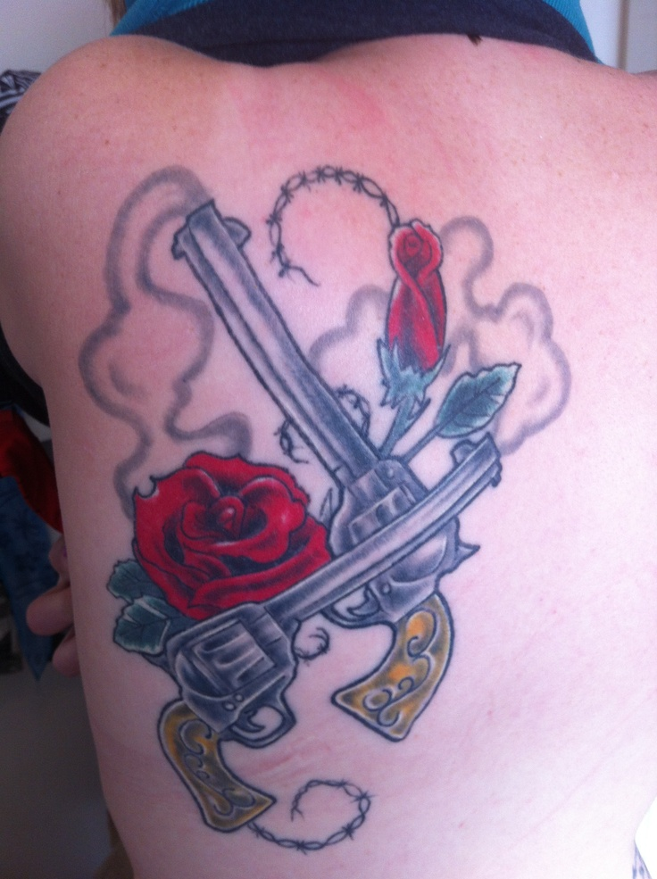 My back left shoulder tattoo.  Guns and Roses ....maybe a pink rose, a yellow rose, one gun, and a hummingbird.