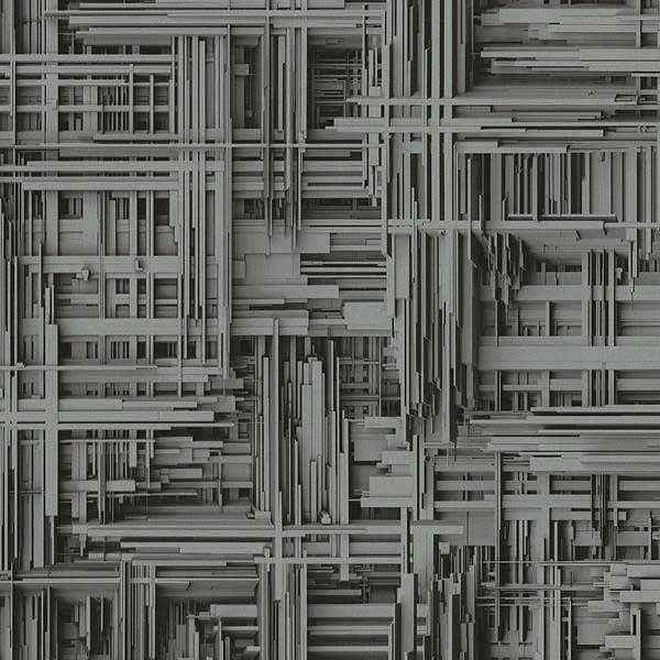 Papel pintado geométrico tablas 3d gris plata PDW94209820