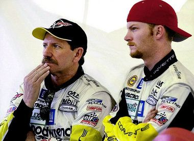 dale earnhardt death photos | ap 2001 dale earnhardt sr left and his son dale earnhardt jr watch ...
