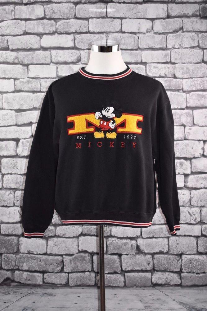 Walt Disney Store Mickey Mouse Heavy Embroidered Sweatshirt L #Disney #SweatshirtCrew