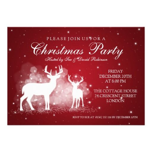 Elegant Party Deer Sparkle Red Card Party Invitations