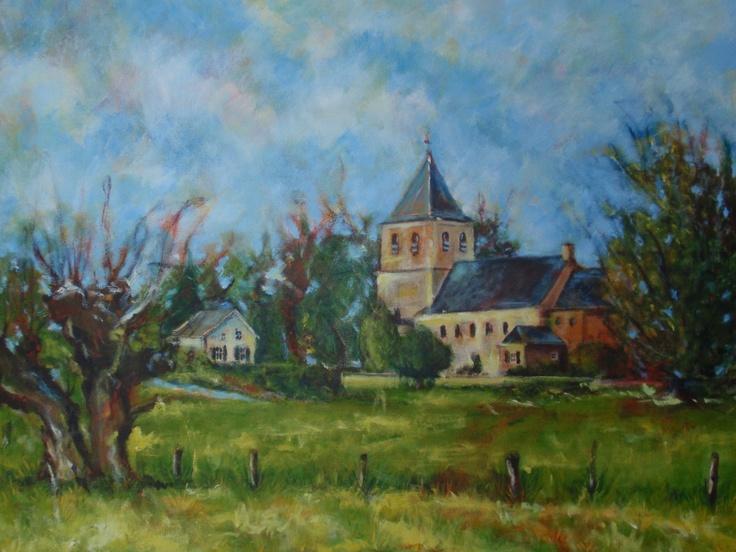 Old church Benedendorpsweg, Oosterbeek Holland, acryl
