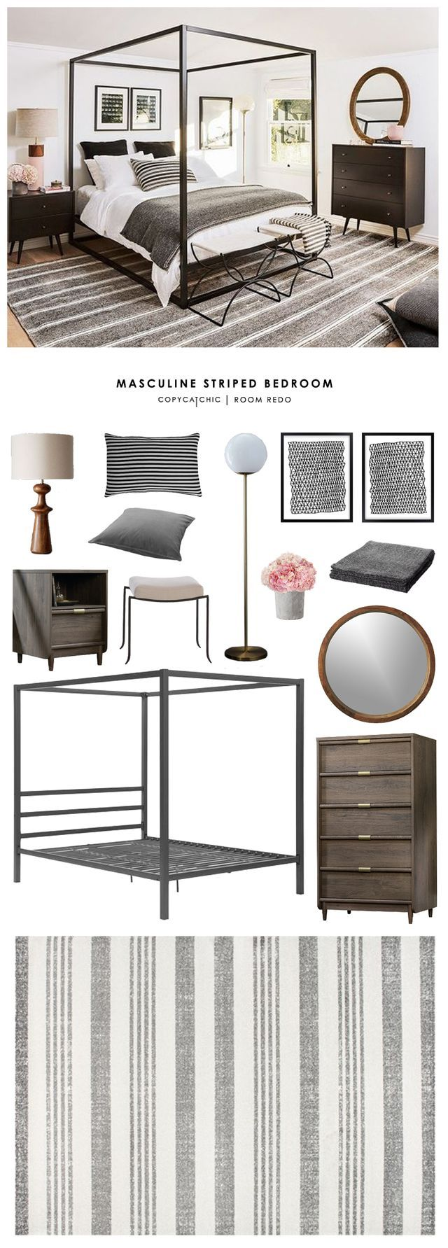Copy Cat Chic Room Redo | Masculine Striped Bedroom
