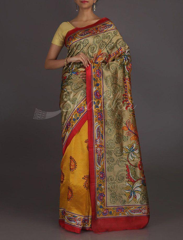 Kashvi Kalamkari Inspired Kantha Work Pure Silk Saree