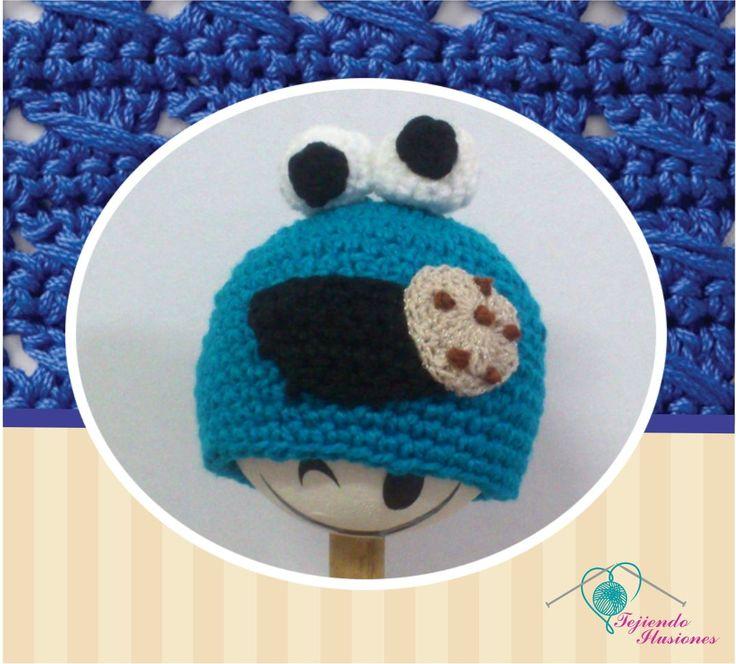 Modelo Nº 83: Come galletas, hermoso gorro con ojos saltones #crochet #hat #comegalletas #bebes