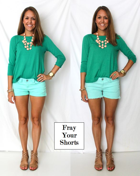 Frayed Shorts - I am so doing this next time I love shorts that are too short!