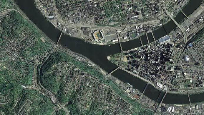 This is an aerial view of Pittsburgh.  Is it an energy vortex?