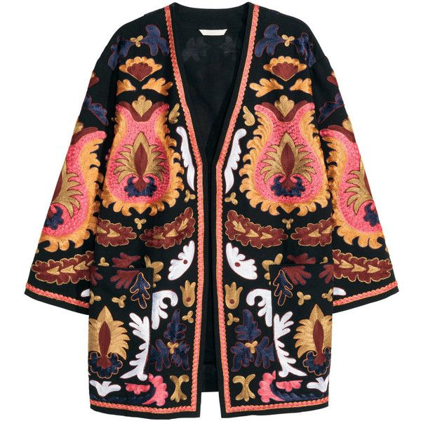 Embroidered kimono $129 featuring polyvore, fashion, clothing, outerwear, jackets, kimono, coats, h&m and kimono jacket
