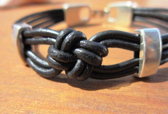 nudo pulsera náutica nudo joyería negro pulsera de cuero por kekugi