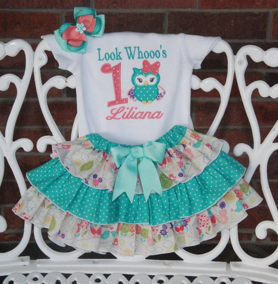 Owl birthday outfit for girls! Look Whooo's one! Woodland birthday by RuffleDarlings