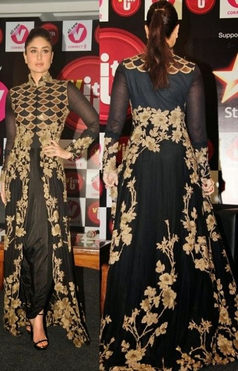 Kareena Kapoor Black And Gold Floor Length Designer Semi Stitched Anarkali Suit|Anarkali Suits|Ethnic Wear