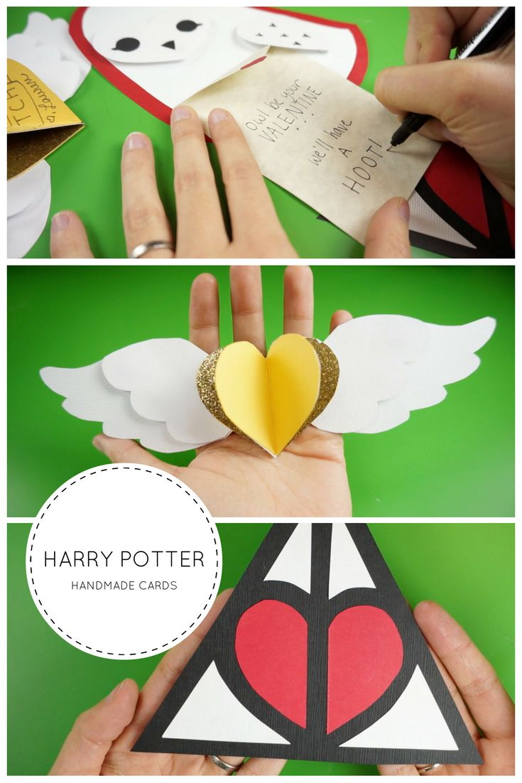 Harry Potter inspired handmade cards! An owl, golden snitch, and deathly hallows symbol. #cards #valentines #crafts #harrypotter