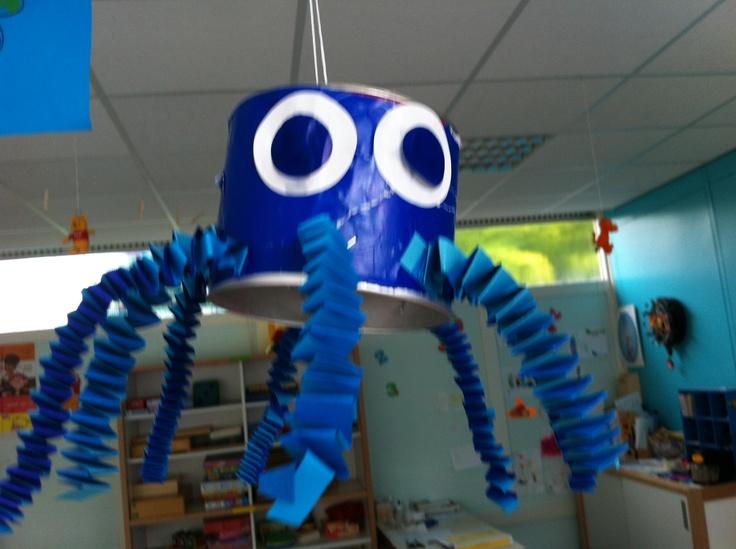 Thema zee. Inktvis maken busje. Muizentrappetjes.