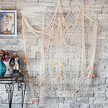 Amazon.com: Youbedo Nautical Fish Net With Shells Decoration Retro Photography Props Creamy White Mediterranean Style Fish Net Decor 79 x 59inch: Toys & Games